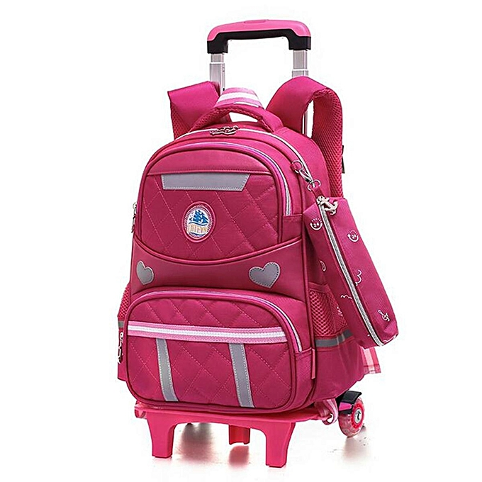 Kids S Boys Children Wheels Trolley Backpack Bag School Luggage Book Bags Two Wheel