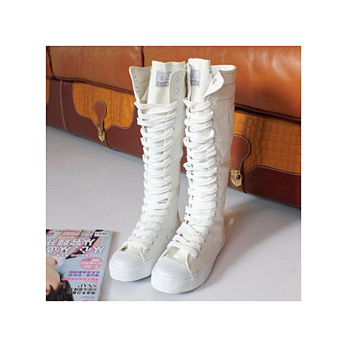 4a95a44fce1 Punk Women Canvas Sneakers Tall Mid Calf Lace up Knee High Boots Zip Flat  Shoes ...
