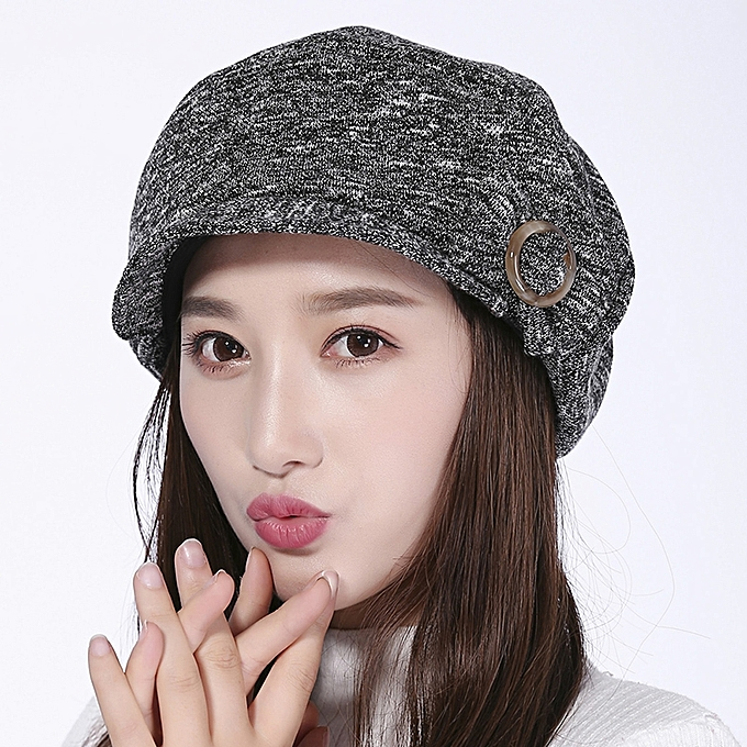 Womens Leisure Earmuffs Double Layers Flat Hats Outdoor Warm Knitted Beret  Caps ac64e51f7fa