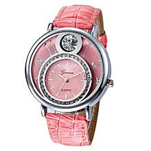 Geneva Women's  Wrist Watch  Women Design Dial Leather Band Analog  Quartz Wrist Watch@Pink