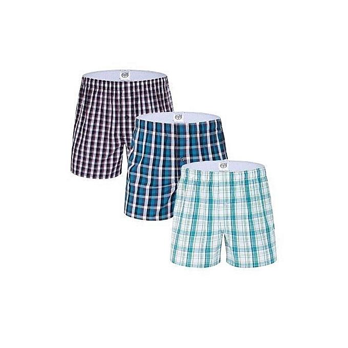 Boxer Shorts - 3 Pieces-Pure Cotton - Checked (Random color)