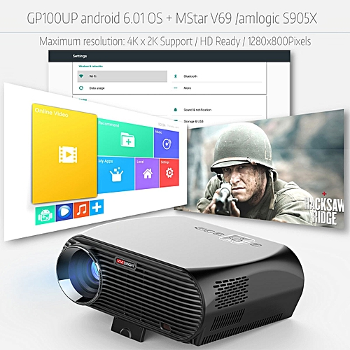 LED LCD Home Theater Projector Android 6 01 OS Wifi Bluetooth HD HDMI USB  TV UK Plug