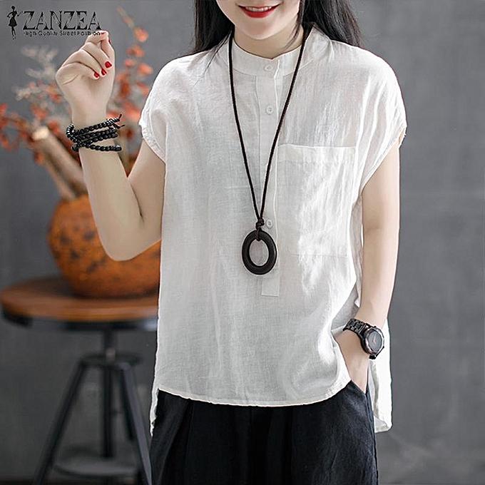 2d4713ec905 ZANZEA Women Button Up Basic Tee T Shirt Top Loose Plus Size Tunic Blouse