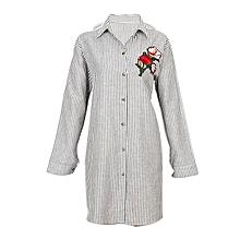 4b2af144eae38 Black  White Striped Embroidered Shirt Dress