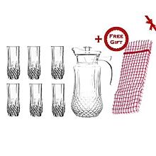 Quality Tableware Serving Crystal Juice/Water Glasses Jug Set - 7pcs (+ Free Gift Hand Towel).