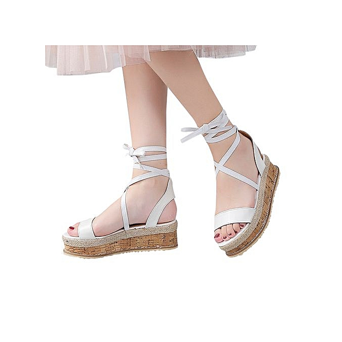 0a65505caca6 ... Jiahsyc Store Ladies Women Roman Shoes Platform Woven Thick-Bottom  Waterproof Wedge Sandals-White ...