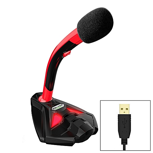 K1 Desktop Omnidirectional USB Wired Mic Condenser Microphone with Phone  Holder, Compatible with PC / for Live Broadcast, Show, KTV, etc(Black + Red)