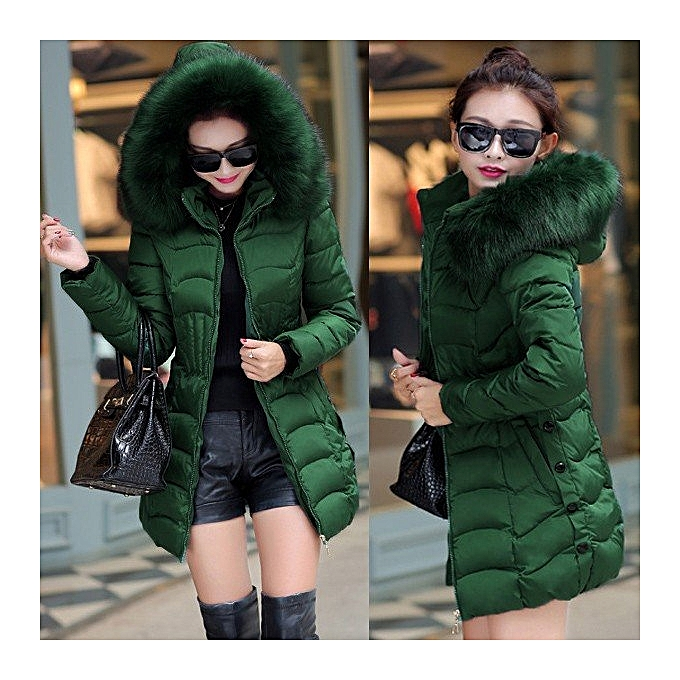0b6e9ff24 New Long Parkas Women Winter Coat Thicken Female Down Cotton Jacket Faux  Fur Collar Womens Puffer Outwear Parkas Plus size (Green)