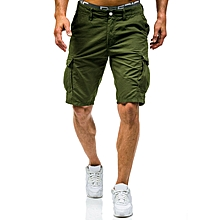 Summer Mens Big Size Loose Multi Pockets Leisure Shorts Mid Rise Cotton Calf Length Cargo Pants