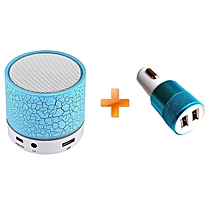 Mini LED Bluetooth Wireless Speaker - Blue,Get One Free Car Charger