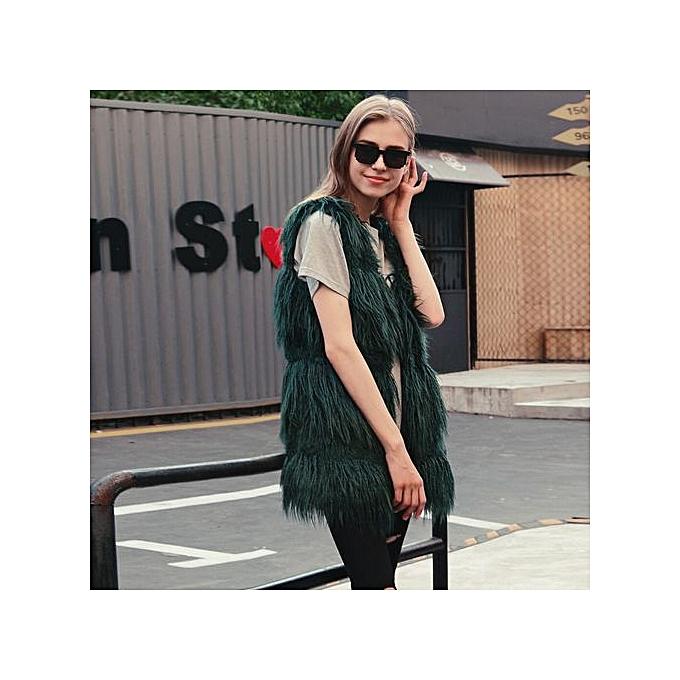 924303153af05 Hiaojbk Store Women Faux Fur Ladies Sleeveless Vest Waistcoat Jacket Gilet  Shrug Coat Outwear- Army