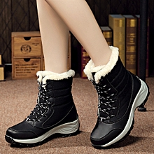 Women's Winter Boots Plush Outdoor Work Shoes Warm Ankle Snow Boots BK/35-Black 35