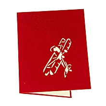Handmade 3D Greeting Card Popular Festival Airplane Model Postcard Red Seal red