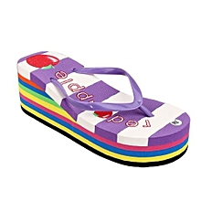 ec090fba8 Fashion Jiahsyc Store Summer Bohemia Sweet Flip Flops Sandals Clip Toe  Sandals Beach Shoes -Purple