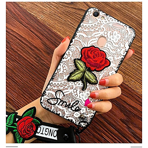 outlet store 1db0c 7b13a Case For OPPO F7 Girls Black White Lace Rose Flower Embroidery Back Cover +  Lanyards Gift 262005 Color-1