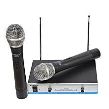 Max DH-744 Wireless Microphone Karaoke Dual Channel Transmitter System-black