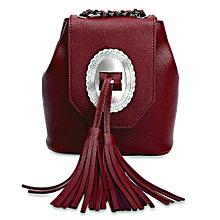 Guapabien Women Tassel Decoration Geometric Pattern Chain Shoulder Messenger Crossbody Mini Bag