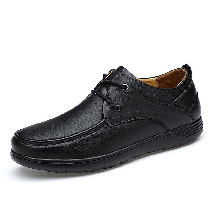 Buy Generic Genuine Leather Men Shoes Black Flats Lace Up Formal
