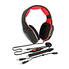 High Sensitivity Stereo Bass Gaming Headphone Detachable Wired Gamer Headset red