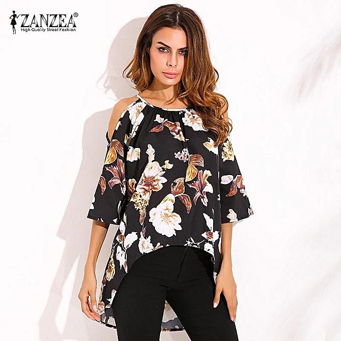 6436331c2fdd31 ZANZEA ZANZEA Blusas Femininas Women Floral Print Blouses Shirts Fashion  Bohemian Flare Sleeve O Neck Off Shoulder Asymmetrical Tops Floral