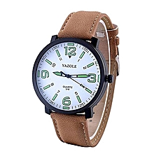Fashion Leather Luxury Mens Military Quartz Army Wrist Watch - Brown