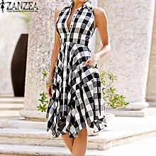 ZANZEA Women Plus Size Sleeveless Midi Sundress Flare A-Line Shirt Dress