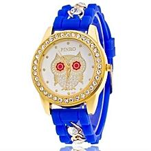 Owl Quartz Clock Female Popular Relogio Luxury Diamond Ladies Wristwatches Women Silicone Chain Fashion Watch(Dark Blue)