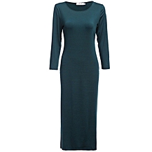 Elastic Bodycon Dress With Three-Quarter Length Sleeves - Green