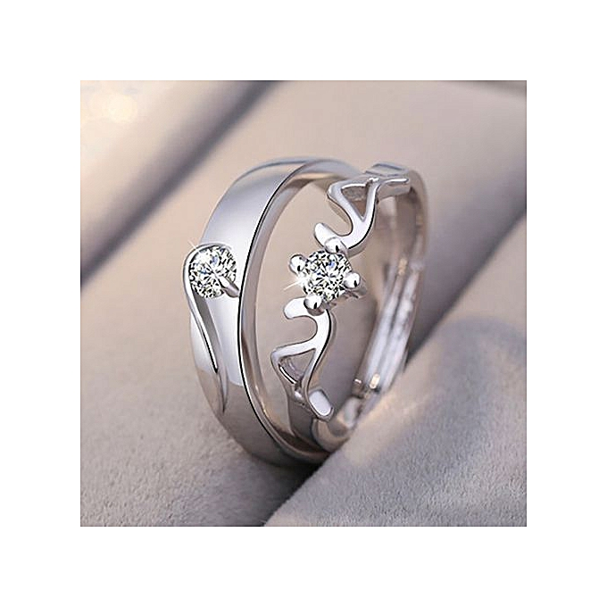 f13211abdf Eleganya 1pair Plating 925 Sterling Silver Platinum Men And Women On The Ring  Couple Ring Adjustable