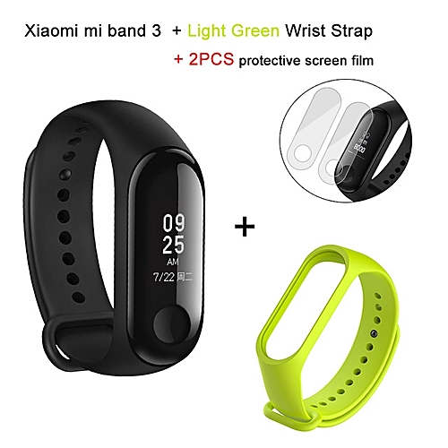 Mi band 3 OLED Heart Rate Monitor Bluetooth 4.2 Smart Bracelet+Light Green replacement band and 2 free screen protector