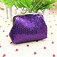 bluerdream-Womens Small Sequin Wallet Card Holder Coin Purse Clutch Handbag Bag-Purple