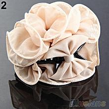 Fashion Flower Chiffon Hair Clip Hair Claw Clamp Wedding Party Lady Accessory-Black