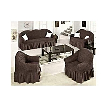 Sofa Seat Covers - 3+2+1+1 - Chocolate Brown