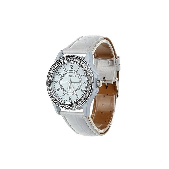 Leather Geneva Crystal Dial Lady Wrist Watch Bracelet Quartz Hour Wh