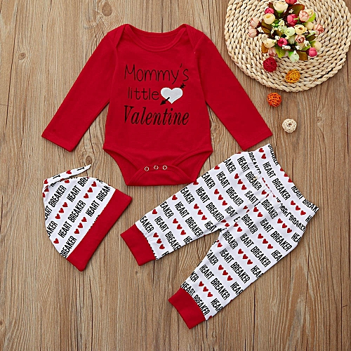 bd90fe2f5bde Generic Newborn Infant Baby Boy Letter Romper +Pants+Hat Valentine s ...