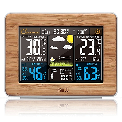 FanJu FJ3365W Weather Station Color Forecast with Temperature / Humidity /  Barometer / Alarm / Moon phase