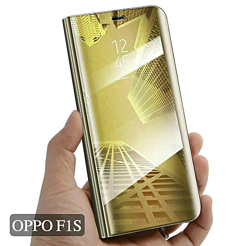 new arrival 49925 d7189 OPPO F1S Cover Smart Plating Mirror Flip Case For OPPO F1S Cases Clear View  Housing Shell (Gold)