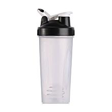 Handheld 600ML Gym Protein Shaker Mixer Bottle Whisk Ball Shaker Bottle black