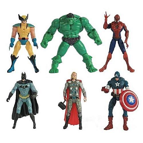 6Pcs Avengers Toy Figurine 20cm Captain America Hulk Spiderman Thor - Multicolor