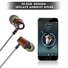 ZM-200 Wood Earphone Wired Headphone Wood Earphone Bass HiFi Earbuds In-ear Headset
