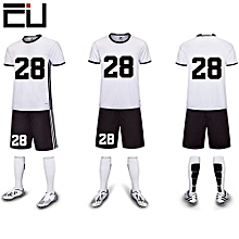 Customized Youth Men's Football Soccer Team Sports Shirts Shorts Jersey-White(6109)