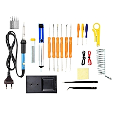 25-in-1 Soldering Iron Kit, 60W Adjustable Temperature Soldering Iron, Tips, Solder Sucker, Tin Wire Tube, Anti-static Tweezers, Tools, Stand And Sponge In Carry Bag,EU