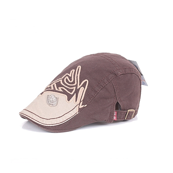 f8549181fb4 ... Unisex Cotton Embroidery Washed Beret Hat Duckbill Golf Visor Buckle  Cabbie Cap For Men Women ...