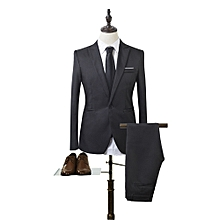 Sanwood Men Slim Fit Business Leisure One Button Formal Two-Piece Suit For Groom Wedding -Black - Black - M