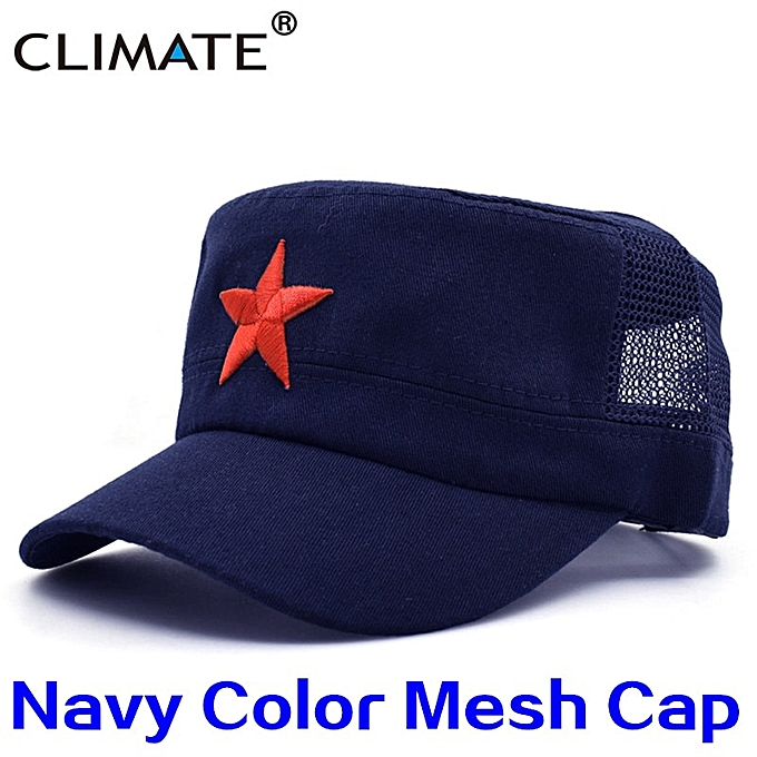 Communist Cap Caps Hats Men Red Star Army Cap Party Men International  Brigades Flat Top Cool Army Military Hat Caps Man(Navy Mesh)