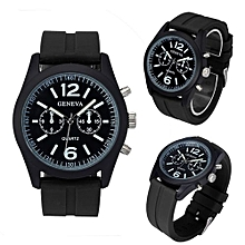 Olivaren Geneva Fashion Unisex Silicone Analog Quartz Wrist Watch BKBlack