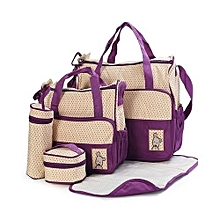 5 Piece - Diaper Bag, Multi Pockets Waterproof Nappy Bag For Travel, Large Capacity and Stylish-Purple