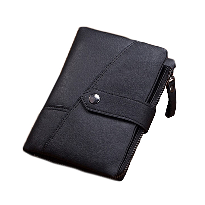 25aa3e3e Men Genuine Leather Short Wallet Vintage Tri-fold Unique Wallet