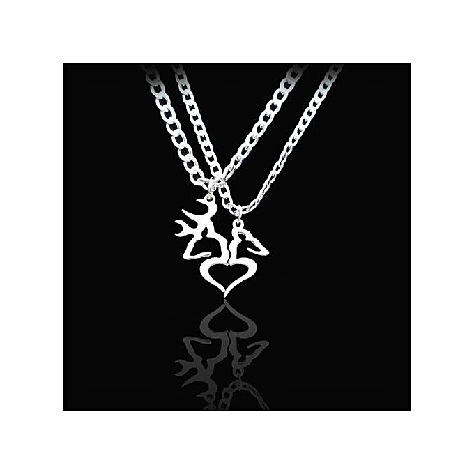 b7ab47c7ab Shinewerop 1Pair Heart Buck Doe Necklace Guitar Pick Matching For Couples  Love Girl Guy Deer Silver