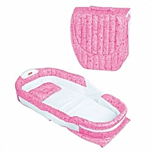Portable Can Go Out To Carry A Crib In The Bed Multi-Function Foldable Baby Newborn Baby BB Bed with Lights and Music (Pink)